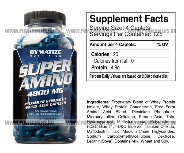 Купить Dymatize Nutrition, Super Amino 4800 (500таб)
