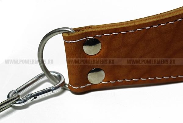 PowerMens, Ремень для отягощений с цепью кожаный (рыжий)
